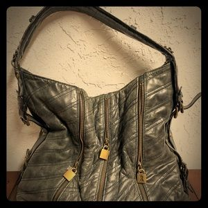 Betsy Johnson Black Leather Locks Bag